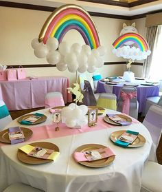 Birthday Party Rainbow Theme Baby Shower 16 Ideas For 2019 Unicorn Themed Birthday Party, Rainbow Birthday Party, Jojo Siwa Birthday, Baby Birthday, Girl Birthday Themes, Birthday Ideas, Balloon Decorations Party, Birthday Party Decorations, Decoration Party