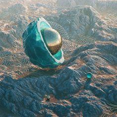 Rotsen en bollen zweven boven uitgestrekte vlaktes in de realistische fotowerken van 23-jarige Praagse grafisch ontwerper.
