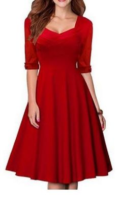 Sweet Valentine's Day Dress! Womens's Vintage Pure Red Color Sweetheart Neck 1/2 Sleeve Dress