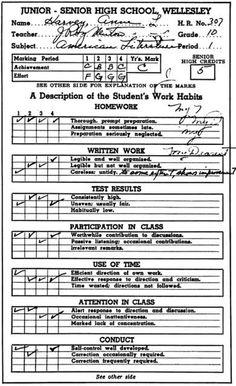 Anne Sexton's Grade 10 report card (via This Recording).