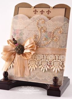 Gorgeous Invitation Card...with lace & ribbon...by Becca Feeken.