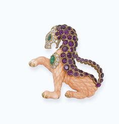 A PINK CORAL AND GEM-SET 'GRIFFIN' BROOCH, BY VAN CLEEF & ARPELS   Christie's