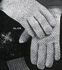 Men's Afghan Stitch Gloves crochet pattern published in Gloves and Mittens, Bernhard Ulmann #29.