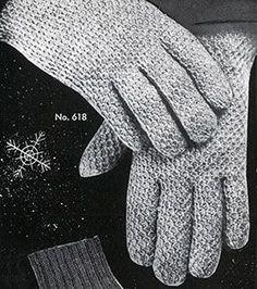 Men's Afghan Stitch Gloves Pattern #618