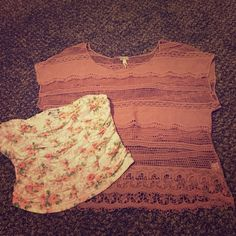Pac Sun top with a forever 21 crop top Soft pink pac sun top with a floral crop top that goes under. Only worn once on picture day PacSun Tops Blouses