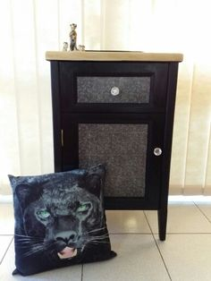 Cat decoupage bedside cupboard