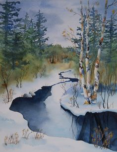 Danielle Beaulieu's watercolour of three birch trees by the creek