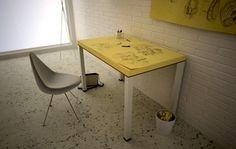 Tavolo Post-it. Un bellissimo e originalissimo tavolo ideato dalla Soup Design e realizzato… con fogli di carta, in puro stile Post-It. Via ArredoIdee