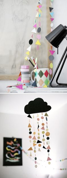 I like the idea of cutting white clouds out then making mobiles out of them with rain drops attached with string...