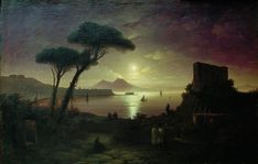 night time paintings | ... of Naples at moonlit night Painting by Ivan Aivazovsky | Oil Painting