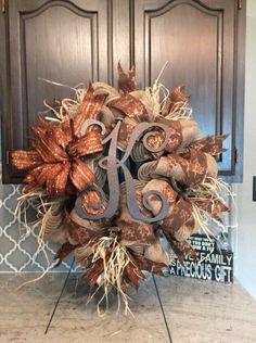A personal favorite from my Etsy shop https://www.etsy.com/listing/475661607/monogram-fall-leaf-print-burlap-wreath