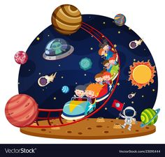 Children riding space roller coaster vector image on VectorStock Space Party, Space Theme, Drawing For Kids, Art For Kids, School Frame, School Painting, Space Illustration, Petite Section, Kids Wall Decor