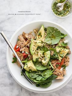 Quinoa and Avocado Chimichurri Salad by Foodie Crush. Good food and a great message. Vegetarian Recipes, Cooking Recipes, Healthy Recipes, Cooking Tips, Healthy Salads, Healthy Eating, Healthy Lunches, Chimichurri, Soup And Salad