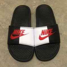 Nike Slides x Bape Customs 😍✔️🔥👍 or Custom Painted Shoes, Custom Shoes, Nike Benassi Slides, Nike Shoes Air Force, Nike Slides, Fresh Shoes, Hype Shoes, Sneakers Fashion, Shoes Sneakers
