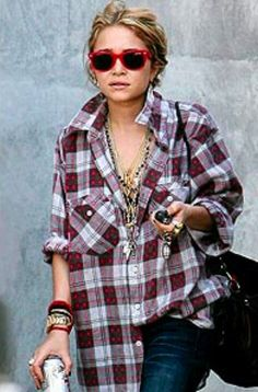 Mary Kate Olsen - grunge look flannel jewelry