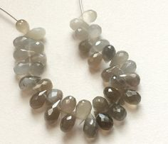 Grey Moonstone Faceted Tear Drop Beads Grey by gemsforjewels