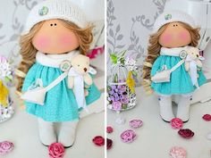 Tilda doll Fabric doll Interior doll Handmade doll Art doll brown aqua color soft doll Cloth doll Love doll by Master Tanya Evteeva