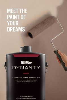 Introducing BEHR DYNASTY™ Interior Paint. It's everything you want, now all in one can. BEHR DYNASTY™ is stain repellent, scuff resistant, fast drying, and even has one-coat coverage.* With walls this beautiful, even your TV will be begging for attention.🎨: Flower Pot S180-3 *Limitations apply. Visit Behr.com for more information.