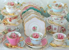 Mismatched vintage tea sets for an eclectic, modern high tea party.