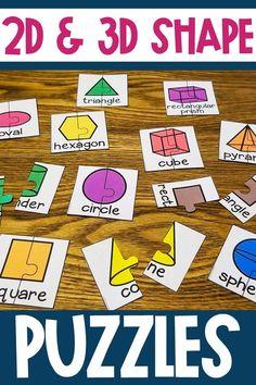 and Shape Puzzle Activity and Worksheet Kindergarten Teachers, Math Classroom, Kindergarten Activities, Educational Activities, Shape Worksheets For Preschool, Shapes Worksheets, Teaching Shapes, Teaching Math, Math Stations