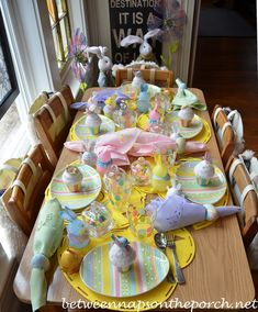 Easter Table Setting Tablescape for Children-I love it and I love Between Naps on the Porch!!