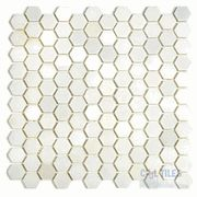 "Mosaic Hexagon in China White Honed Mesh Mounted Sheets  (4"" high backsplash w/ marble pencil trim)"