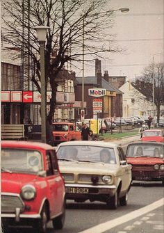 A British street scene in the early 1970s.
