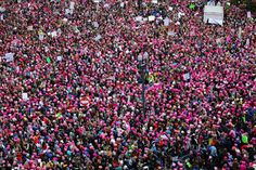Women's March on 20-1-2017 against Trump many wearing the pink cat hat