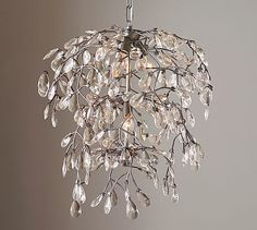 Bella Crystal Round Chandelier #potterybarn - love this chandelier and it is the right height for an 8' ceiling. So, if you have an 8′ ceiling, the maximum height of your chandelier or pendant can only be about 24″ tall. Standard table height is at 30″ + 30″ (at least) above table + 24″ fixture + 12″ (at least) between ceiling and fixture = 96″. The diameter should not exceed the width of the table by about 10″. https://laurelberninteriors.com/2014/02/09/10-common-interior-design-mistakes/