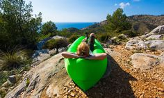 COMFORT ANYWHERE YOU GO WITH OUR INFLATABLE AIR LOUNGER. GREAT FOR ALL INDOOR AND OUTDOOR ACTIVITIES.