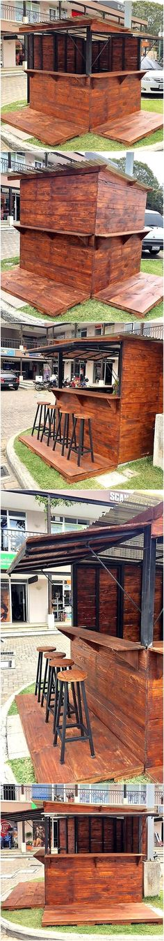 Reclaimed Wood Pallets Patio Bar Plan