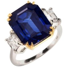 11.88 Carat Emerald-Cut Blue Sapphire Diamond Three-Stone 18 Karat Gold Ring | From a unique collection of vintage three-stone rings at https://www.1stdibs.com/jewelry/rings/three-stone-rings/