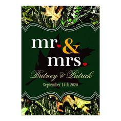 Mr & Mrs Hunting Camo Green Wedding Invitations
