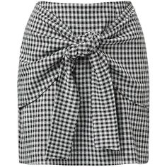 TIE FRONT A-LINE SKIRT (632.940 IDR) ❤ liked on Polyvore featuring skirts, bottoms, gingham a line skirt, checked skirt, checkerboard skirt, tie front skirt and checkered skirt