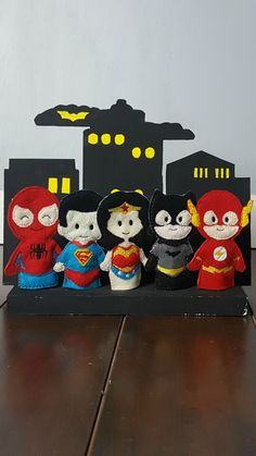 """This set of Comic Book Heroes finger puppets is ready to keep your child entertained for hours! These soft toys would be great for a road trip! Each puppet measures approximately 3.5"""" tall and is big #Feltfingerpuppets"""