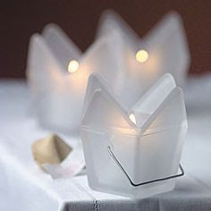 Candle Wedding Favors - Our frosted glass Chinese takeout box candle holders make elegant wedding decorations and can hold party favors as well. Asian Wedding Themes, Asian Party Themes, Party Ideas, Wedding Ideas, Event Ideas, Event Decor, Chinese Party, Chinese Theme, Chinese Dinner