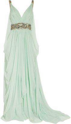 Marchesa Green Crystalembellished Silkchiffon Gown