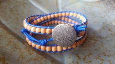 Leather and Wood Bead Triple Wrap Bracelet by StudioSunshineCo
