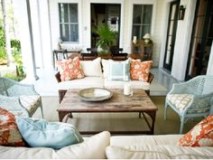 decks/patios - vintage turquoise blue cane chairs white tan faux bamboo fabric cushions industrial coffee table Island deck patio design with Outdoor Rooms, Outdoor Living, Outdoor Furniture Sets, Outdoor Decor, Outdoor Seating, Backyard Furniture, Porch Furniture, Refinished Furniture, Indoor Outdoor