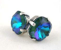 CATHERINE POPESCO Gorgeous Mermaid Swarovski Silver Stud Earrings 1/2?