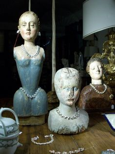heads for cathy Never Grow Up, Treasure Boxes, Antique Shops, Folk Art, Sculpture, Statue, Shapes, Dolls, Antiques