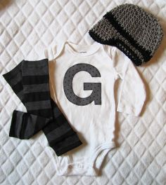 Baby boy custom initial onesie/body suit, leg warmer and crochet hat set, gray and black, stripes and polka dots, photo prop, Baby Fashion. $30.95, via Etsy.