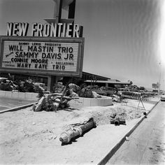 New Frontier Hotel, Las Vegas, June 9, 1955. The second resort on the Las Vegas Strip, and the first with an all-encompassing theme, Hotel Last Frontier opened in 1942. It was modernized in 1955, reopening as New Frontier. The hotel was closed and demolished in 2007. ✿❀ Vegas Fun, Vegas Casino, Las Vegas Hotels, Las Vegas Strip, Las Vegas Nevada, Casino Movie, Vegas Lights, San Francisco, Fallout New Vegas
