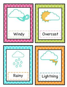 Preschool Printables: Weather Cards Printable