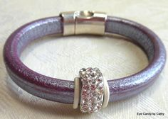 Licorice leather bracelet lavender leather by #EyeCandybyCathy
