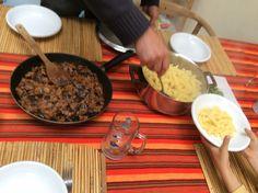 Voorberijding op pasta met aubergine