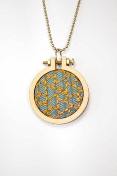 Hand embroidered necklace by Crossibilities on DaWanda.com