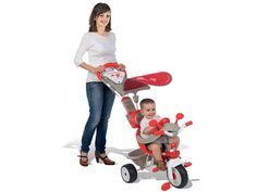 ed9cb6dd0077f #Smoby trojkolka Baby Driver Confort je krásna šedo-červeno-biela trojkolka  s kovovou