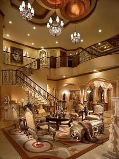 Home Elegance..... Stunning living room and staircase with beautiful decor!