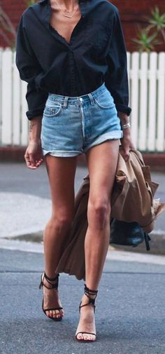 poplin black shirt, high rise denim shorts and strappy sandals